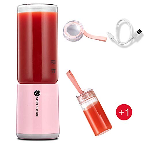 XXTT Leckvermeidung Portable Blender 4 Blätter Klingen USB wiederaufladbare Milk Shake Mixer Power Laden Small Container Touch Switch Electric Mini Blender Double Cup - Power Mixer-cup