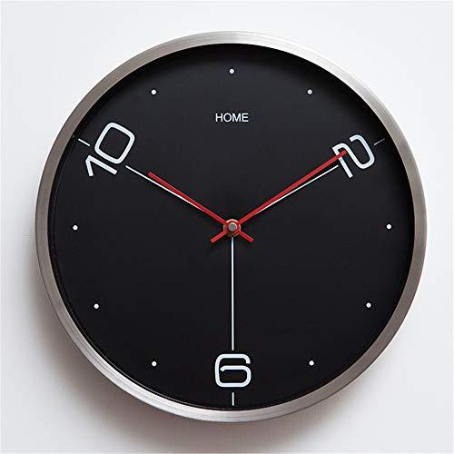 LYJZH personalisierte Kreative Wanduhr Uhr Mode einfache Wohnzimmer Küche Restaurant Schlafzimmer Wanduhr Metallrahmen Wanduhr schwarz 12 Zoll