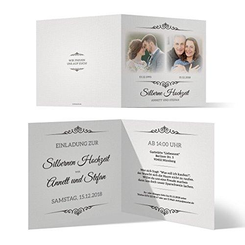 30 x Silberne Hochzeit Einladungskarten Silberhochzeit Einladungen 25 Jahre - Zeitsprung