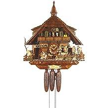 Alemán Reloj de cuco - estilo Chalet - mecanismo con cuerda para 8 días - 58 cm - Auténtico reloj de cuco del bosque negro - de August Schwer