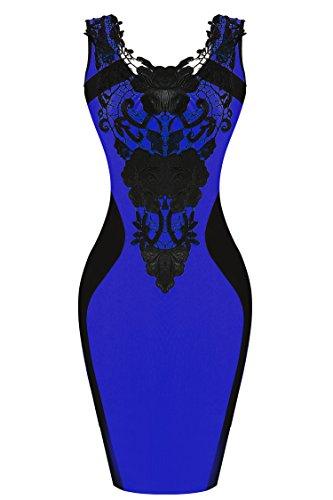 Zeagoo Damen Ärmellos Spitzenkleid Coccktailkleid Bodycon Abendkleid Partykleider (EU 38 (Herstellergröße: M), Blau)
