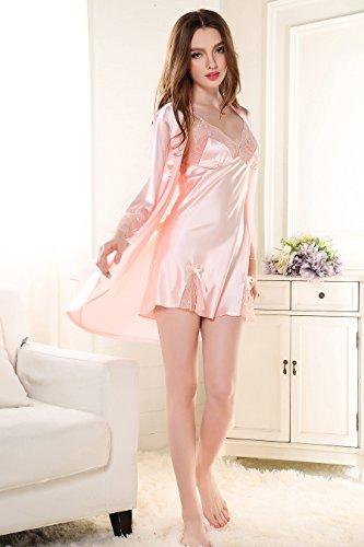 Rainbow Fox donne Indumenti da notte sexy camicia da notte Cavo design Raso Camicia da notte Pink