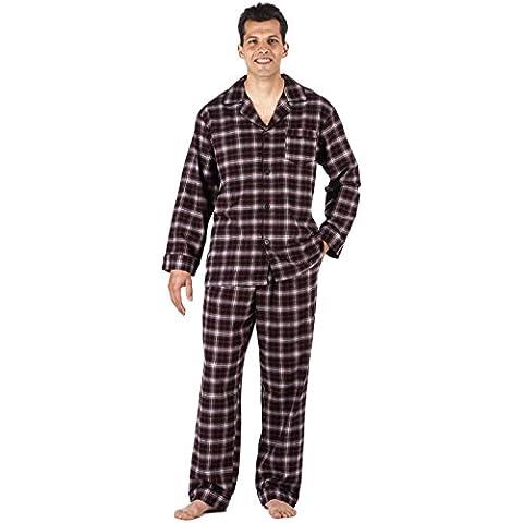 Noble Mount Conjunto Pijama de 100% Franela de Algodón para Hombre