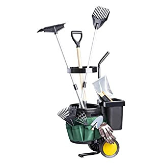 UPP Garten- & Werkzeugtrolley | Transportwagen mit 2 Eimern, Gerätehalter und Tasche mit 12 Fächern | Gartenhelfer transportiert Gartengeräte und Gartenabfälle