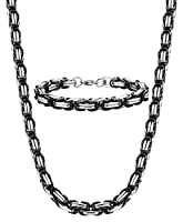 Jstyle 8mm Stainless Steel Mens Necklace Bracelet Set Byzantine Chain Black 22 inch