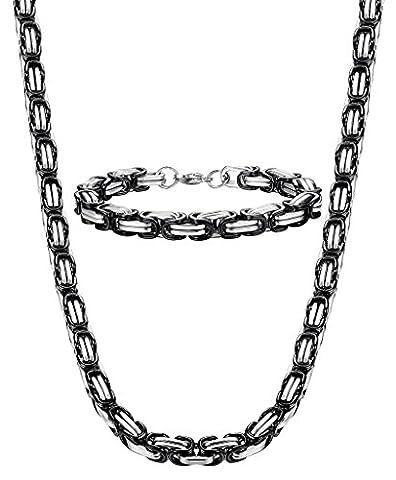 Jstyle Bijoux en Acier Inoxydable 8mm Set Collier et Bracelet Homme ensemble Chaîne Byzantin noire 56cm