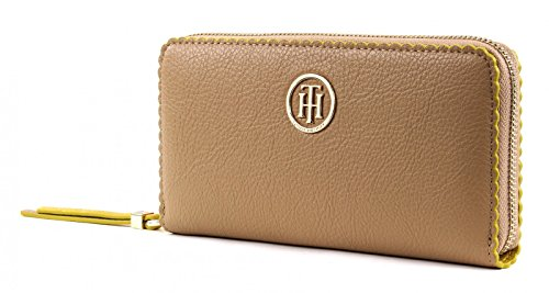 TOMMY HILFIGER Fashion Novelty Large Zip Around Wallet SC Sand / Ceylon Yellow (Around Logo Zip Wallet)