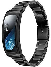 happytop reloj pulsera de acero inoxidable correa de muñeca relojes de repuesto para Samsung Gear Fit 2sm-r360, hombre, negro, S