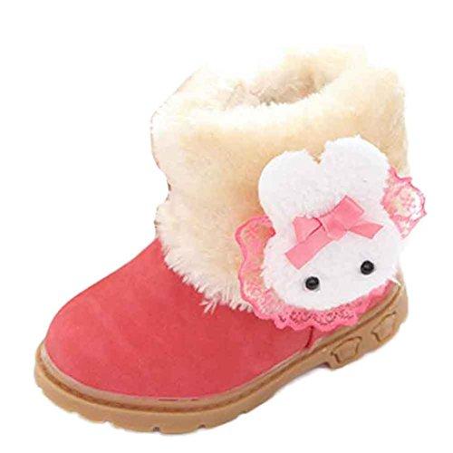 BZLine® Mädchen Schneestiefel niedlichen Kaninchen Winter Baby Kind Baumwolle Stiefel Rot