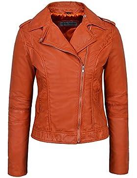 Señoras Modelo BRANDO 442 Nueva chaqueta de cuero suave de la roca del estilo del motorista anaranjado de la manera