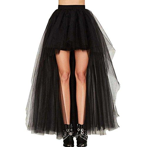 YSTWLKJ Damen Tutu Tüllrock Abendrock Steampunk Petticoat Rockabilly Asymmetrisch Cocktailkleid...
