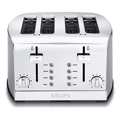 Krups KH734D50 Breakfast Set 4-Slice Toaster with Brushed and Chrome Stainless Steel Housing, Silver