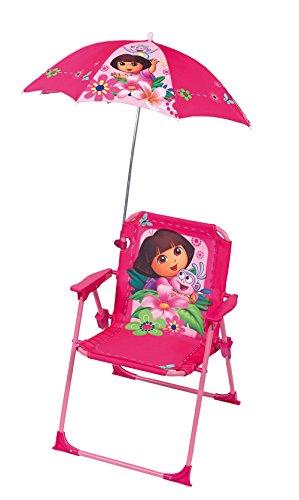 FUN HOUSE 712204 Dora Chaise Pliante avec Parasol pour Enfant Acier Rose 38 x 8 x 50 cm