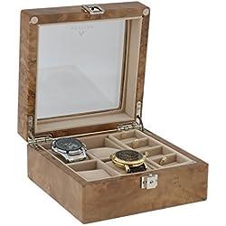 4Paar Manschettenknöpfe und 4-teiliges Armbanduhr Sammler Box in Licht Wurzelholz von aevitas