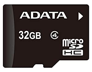 Adata AUSDH32GCL4-RA1 Carte mémoire Micro SD / Micro SDHC avec adaptateur carte SD Class 4 32 Go