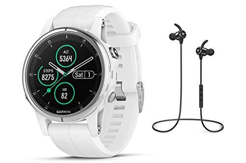 Garmin GPS-Multisport-Smartwatch Fenix 5S Plus – 42mm - Music-Player mit 500 Songs - 24/7 Herzfrequenzmessung am Handgelenk, vorinstallierte Sport-Apps, integriertes GPS, Mobile Payment via NFC - Armband: Weiß, Gehäusegröße: 42mm, Gehäusefarbe: Silber/Weiß, inkl. Silikon Wechselarmband hellblau und Bluetooth Headset