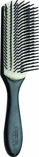 Denman Haarbürste Noir D3N, schwarzer Griff, weißes Gummikissen, 7-reihig