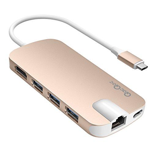 QacQoc-GN30H-USB-Tipo-C-Hub-con-suministro-de-energa-para-carga-HDMI-Salidatarjeta-slot-3-USB-30-Puertos-Gigabit-Ethernet-con-especificacin-de-PD-para-MacBook-12-Pulgada-Oro