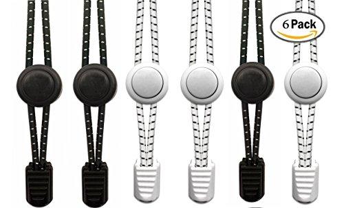 Preisvergleich Produktbild No Tie Elastic Lace System mit Lock-6 Pairs (3 Black 3 White) von Fomsky- Einfach zu installieren -Große Schnürsenkel für Männer Frauen Läufer, Kinder, ältere Generation -Unconditional Refund Garantie