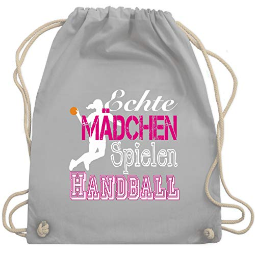 Handball - Echte Mädchen Spielen Handball weiß - Unisize - Hellgrau - WM110 - Turnbeutel & Gym Bag