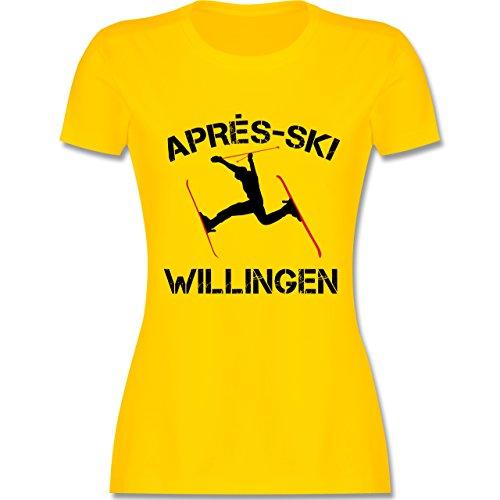 Après Ski - Apres Ski Willingen - tailliertes Premium T-Shirt mit Rundhalsausschnitt für Damen Gelb