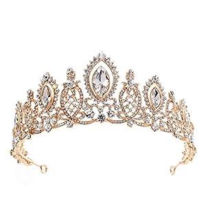 ZCM Braut Krone,Luxus Kristall Strass Krone Hochzeit Haarschmuck