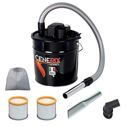 Aspirador para cenizas eléctrico Cenerix 1200W-18L con doble filtro, lanza plana y cepillo con cerdas