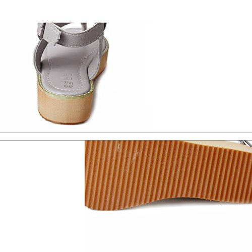 LIXIONG Portatile Sandali estivi Piedini di spessore femminile di fondo Pattini da spiaggia antiscivolo Scarpe -Scarpe di moda ( Colore : Grigio , dimensioni : EU38/UK5.5/CN38 ) Bianca