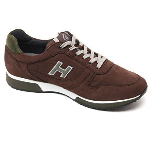 B7112 sneaker uomo HOGAN H198 SLASH scarpa H flock marrone shoe man Marrone