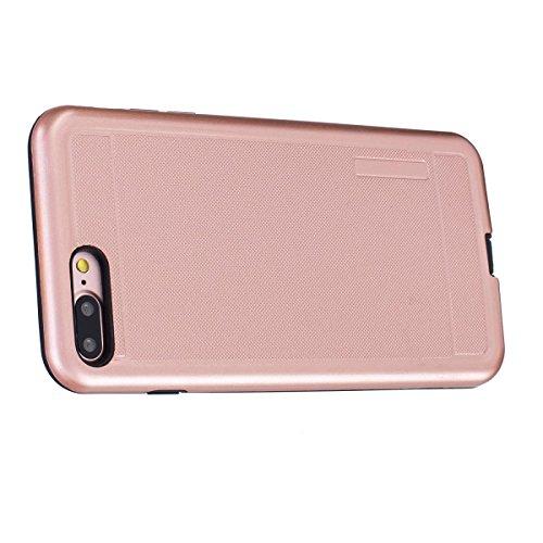 """MOONCASE iPhone 7 Plus Hülle, Dual Layer Soft TPU + Rutschfest Hart PC Schale Anti-Shock Defender Schutz Tasche Schutzhülle Case für iPhone 7 Plus 5.5"""" Schwarz Rose Gold"""