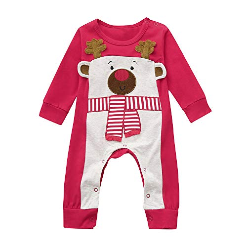 Riou Weihnachten Baby Kleidung Set Kinder Pullover Pyjama Outfits Set Familie Infant Baby Weihnachten Langarm Santa Print Striped Jumpsuit + Hut Outfit (70, Rot B)