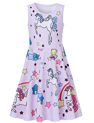 Fanient Mädchen Dress up Kleider Einhorn Gedruckt ärmelloses Sommerkleid Freizeit Kostüm 10-12 Jahre (Kostüme Für 11-jährige Mädchen)