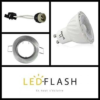 Kit spot led GU10 COB 4 watt (eq. 40 watt) - Support gris - Couleur eclairage - Blanc neutre. Type Support - Rond fixe 85mm