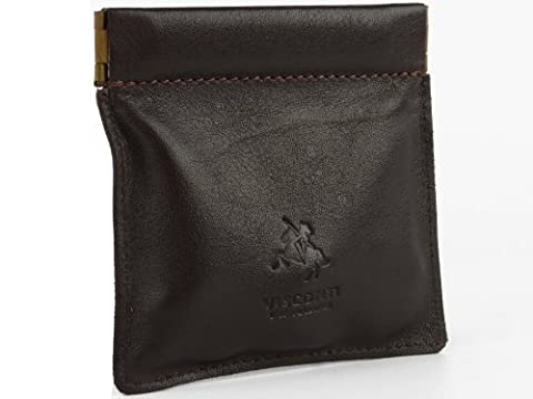 Snap Top Leather Coin Purse by VISCONTI available in Black or Dark Brown (Dark Brown)