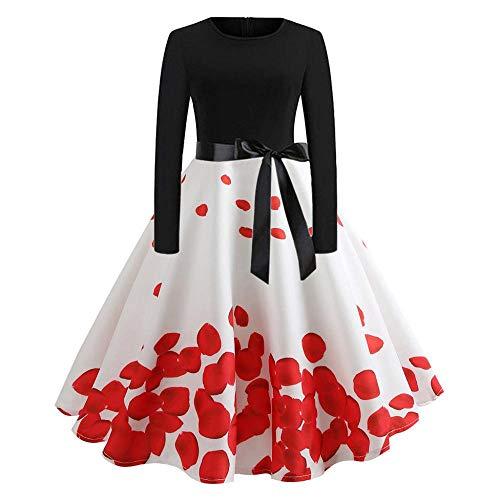 YEBIRAL Damen 1950er Vintage Cocktailkleid Rockabilly Retro Schwingen Kleid Blumendruck Langarm Gürtel Faltenrock Skaterkleid Abschlussball Kleid Karneval Heißer S-XXL (X-Large,Weiß) - Shirt Plus-size-barbie-puppe
