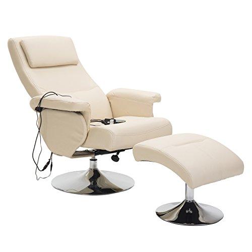 Homcom Fauteuil de Massage et Relaxation électrique Chauffant pivotant inclinable avec Repose-Pied crèm