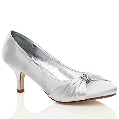 WOMENS SATIN HEELS LADIES WEDDING BRIDAL BRIDESMAID STILETTO LOW MID KITTEN HEEL DIAMANTE BUCKLE EVENING PARTY PROM SLIP ON CLOSE TOE SMART FORMAL CLASSIC SHOES PUMP SIZE 7 UK Silver