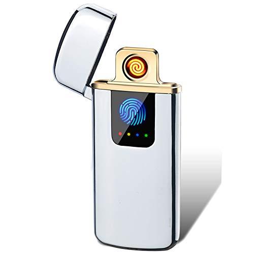 THE NAMCHE BAZAR Encendedor USB eléctrico Recargable, Mechero sin Llama ecológico sin Gas Caja de Regalo mechero Copa Viento Muy Elegante Ultra Fino, Slim (Plata)
