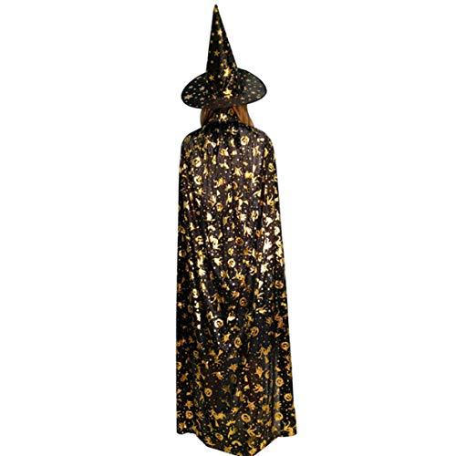 Noradtjcca Halloween-Kürbis-Umhang-Mantel-Geist-Festival-Erwachsen-Maskerade-heiße stempelnde Hexe-Fünf-Sternehut der Kinder
