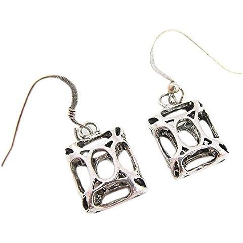 Orecchini moda per donne degli orecchini 925 a filigrana d'argento quadrato di goccia ciondola - Black Pearl Ciondola Gli Orecchini
