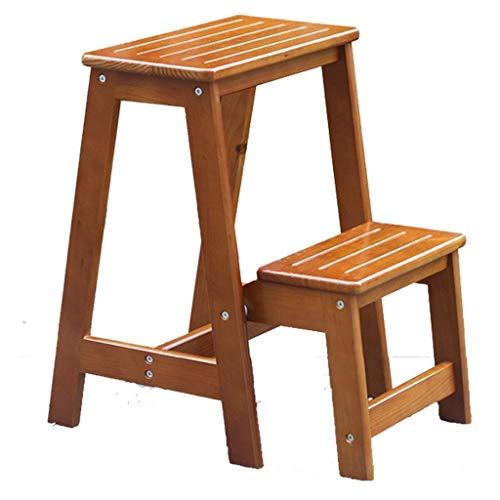Taburete de escalera plegable de madera maciza for el hogar de 2 pasos - Taburete de escalera de madera de doble uso for banco de zapatos Escalera Taburete de escalera de madera con pedal resistente