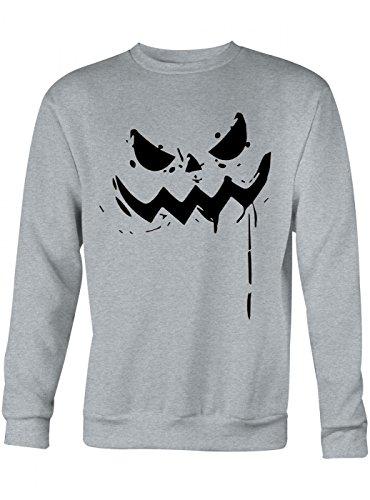 Sweatshirt   Halloween-Kürbis   Grusel   Kostüm   Unisex   Sweatshirts, Farbe:Graumeliert;Größe:M ()