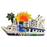 Weekinglo Souvenir Imán de Nevera Lanzarote España 3D Resina Artesanía Hecha A Mano Turista Viaje Ciudad Recuerdo Colección Carta Refrigerador Etiqueta