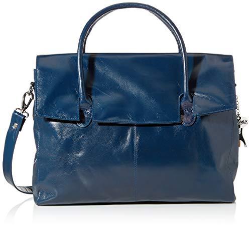 Catwalk Collection Handbags - Leder - Übergroße Laptoptasche Schultasche/Organizer/Arbeitstasche/Aktentasche für Damen - Laptop/iPad - Handtasche mit Schultergurt - HELENA - Marine Blau -