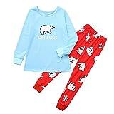 Lucky Mall Weihnachtskarikatur-Nette Bluse + Lange Hosen, Schlafanzüge für Familien