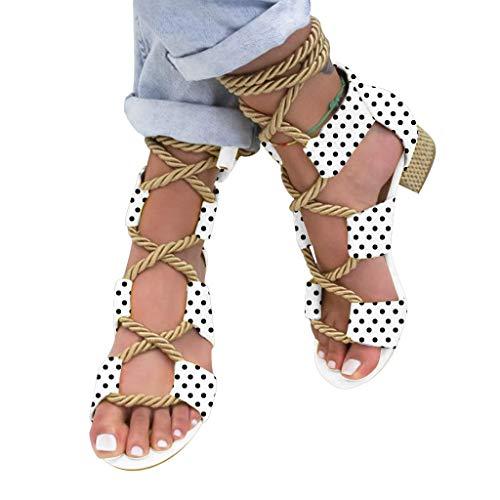 Kaister Damenmode Sommer Schuhe mit niedrigen Absätzen Hanfseil Knöchelriemen Open Toe Sandalen Beach Sandal Zehentrenner Schuhe - Rot Schuhe Dc-high-tops