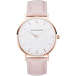 Paul Valentine Bracelet Watch | Marina Rose Gold Pink | with Elegant and timeless design and Pink Genuine Leather Strap
