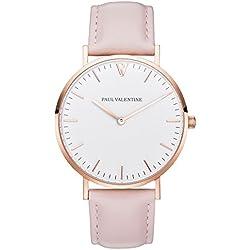 Paul Valentine Armbanduhr | Marina Rose Gold Rosa | Damen Uhr mit elegantem & zeitlosen Design und rosanem Echtleder Armband