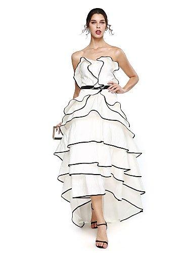 HY&OB A-Line Schatz Asymmetrische Taft Prom Formeller Abend Kleid Mit Perlen Schärpe/Ribbon Quaste (S), Weiß, Us16W/Uk 20 / Eu 46 (Taft Perlen)