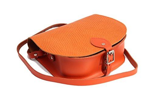 Serpente Patterned reale cuoio Croce borsa corpo con fibbia di chiusura e tracolla regolabile arancione Snake Stampare